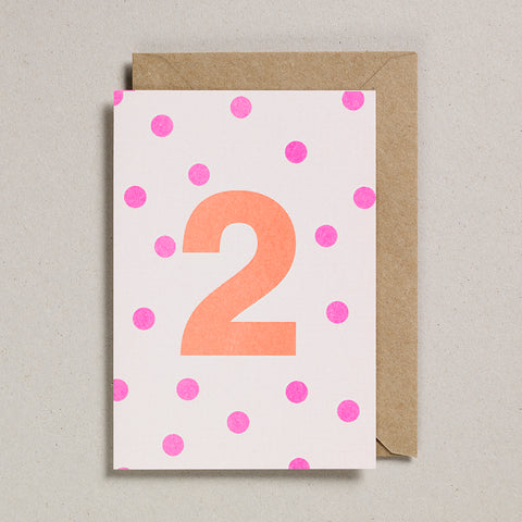Riso Number Cards - Pink/Orange - Age 2