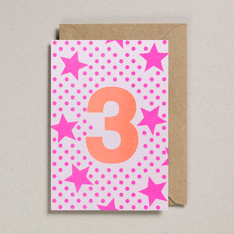 Riso Number Cards - Pink/Orange - Age 3