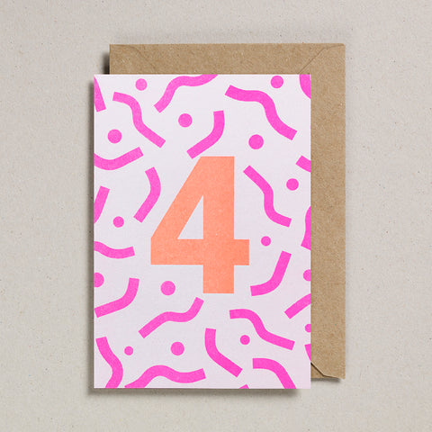 Riso Number Cards - Pink/Orange - Age 4