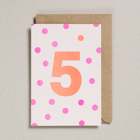 Riso Number Cards - Pink/Orange - Age 5