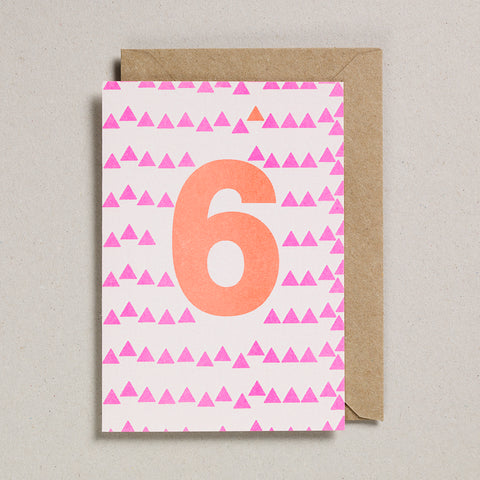 Riso Number Cards - Pink/Orange - Age 6