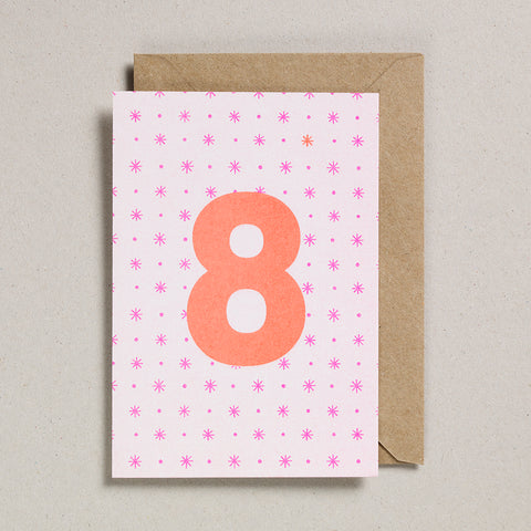 Riso Number Cards - Pink/Orange - Age 8