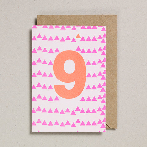 Riso Number Cards - Pink/Orange - Age 9