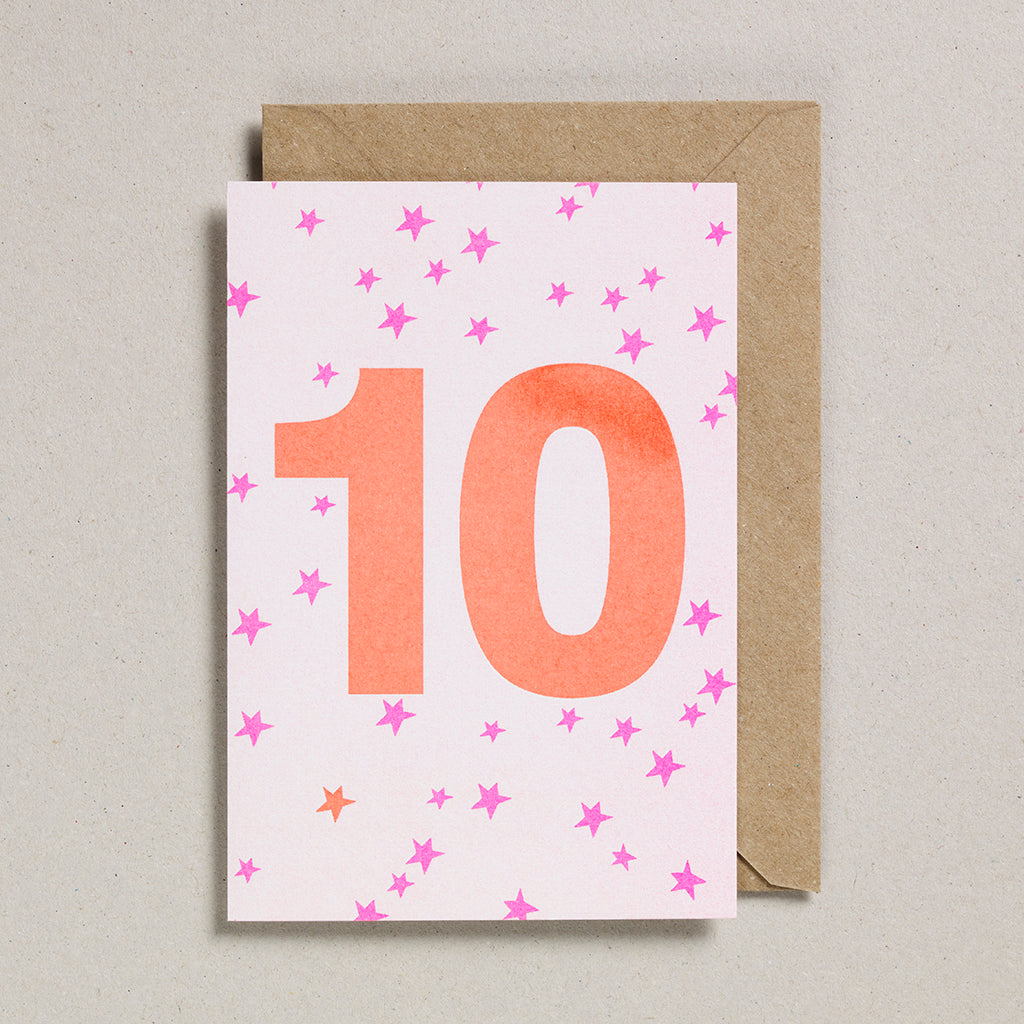 Riso Number Cards - Pink/Orange - Age 10