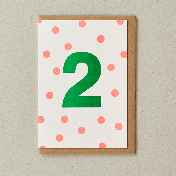 Riso Number Cards - Orange/Green - Age 2