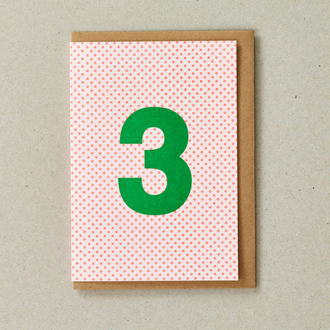 Riso Number Cards - Orange/Green - Age 3