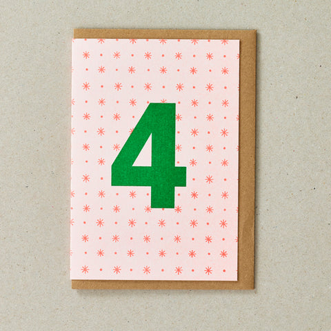 Riso Number Cards - Orange/Green - Age 4