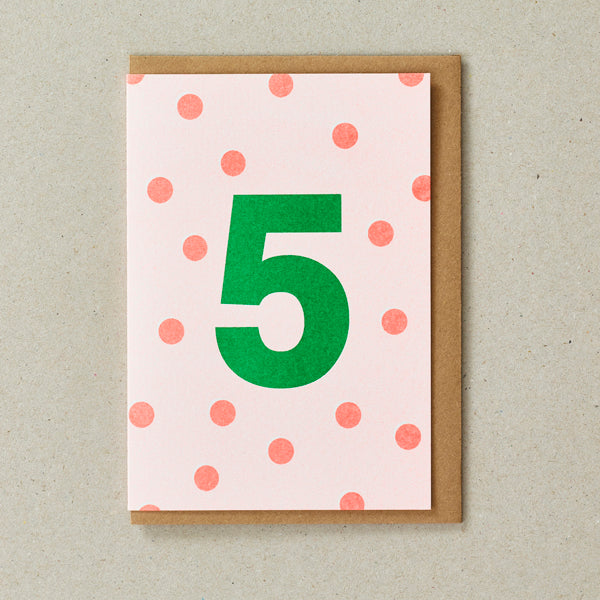 Riso Number Cards - Orange/Green - Age 5