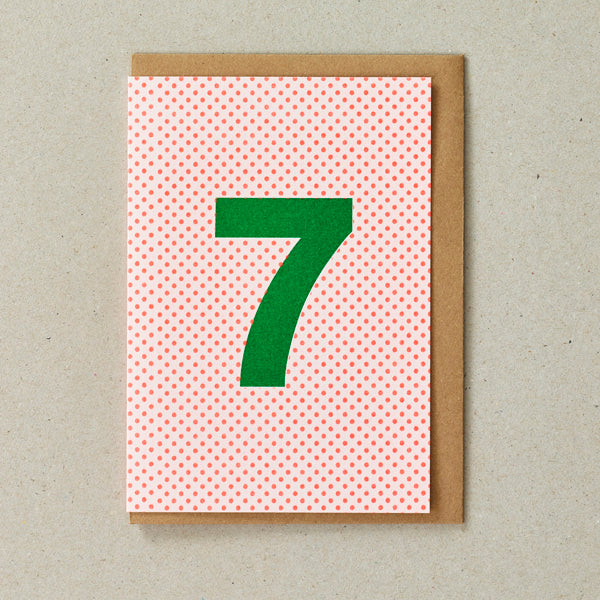 Riso Number Cards - Orange/Green - Age 7