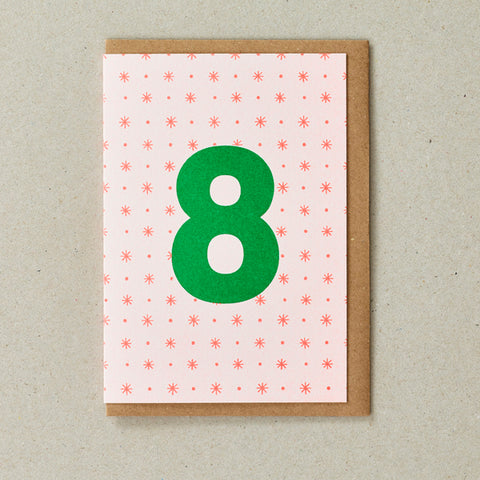 Riso Number Cards - Orange/Green - Age 8