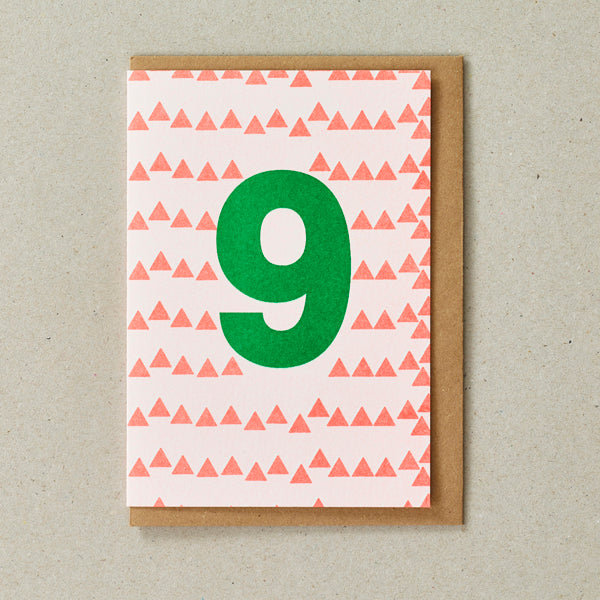 Riso Number Cards - Orange/Green - Age 9