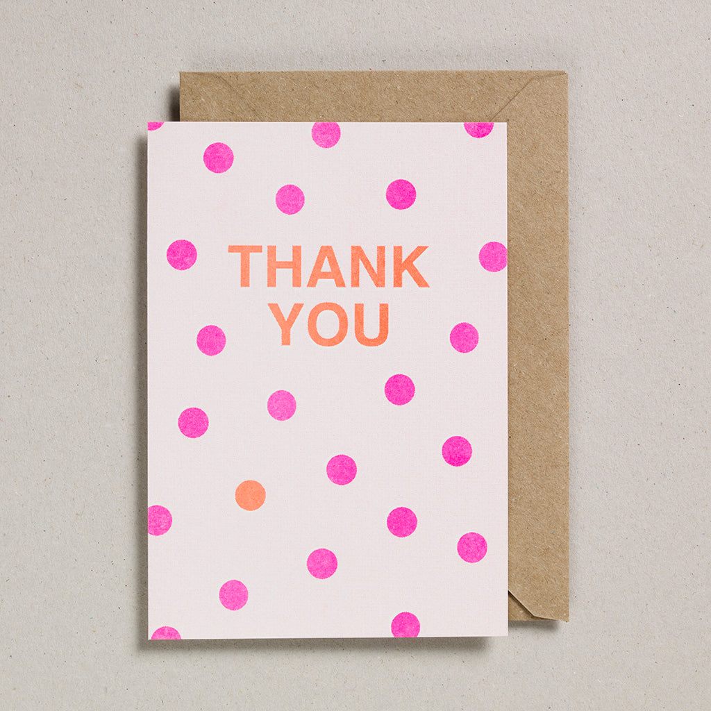 Riso Occasions Cards - Pink/Orange - Thank You