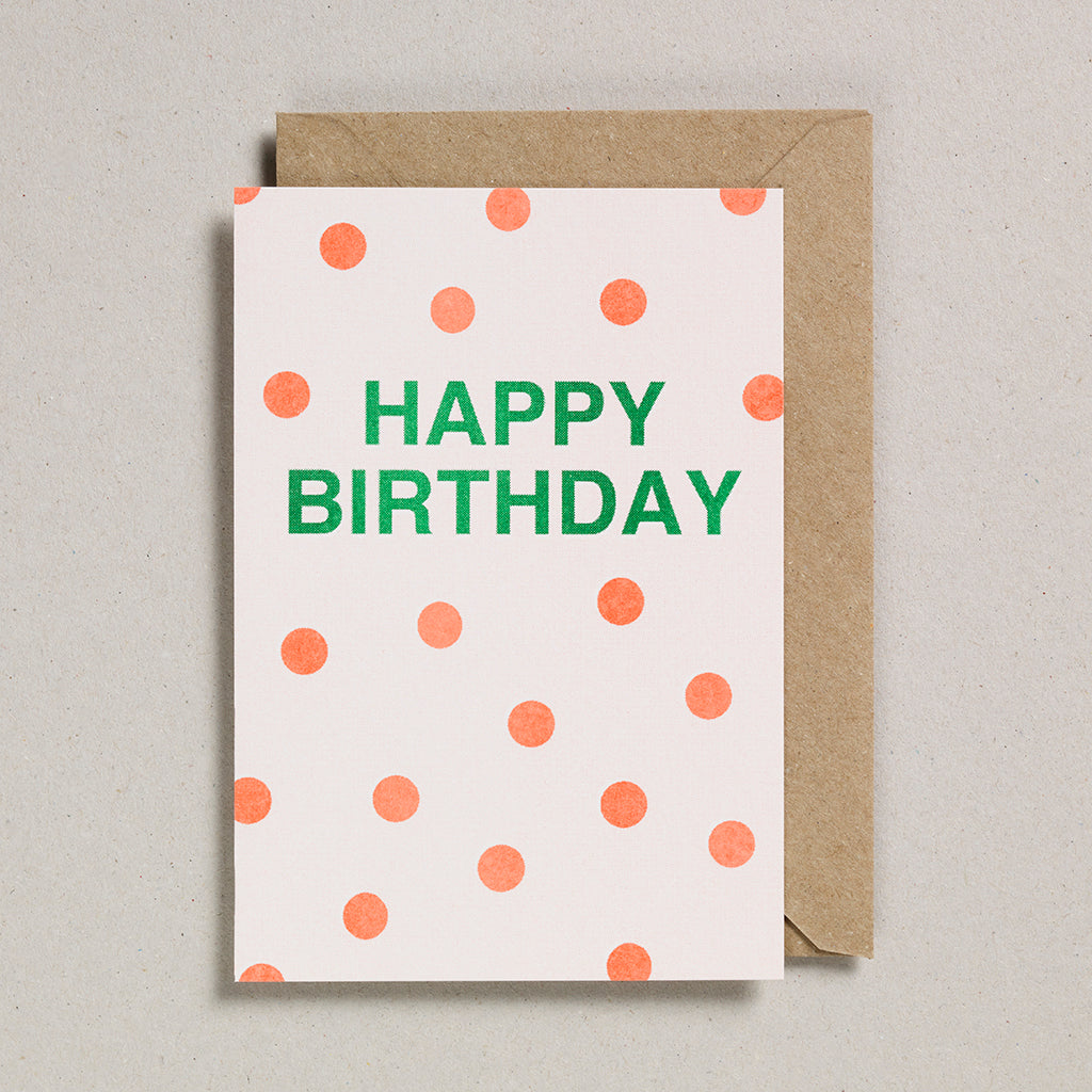 Riso Occasions Cards -Orange/Green - Happy Birthday