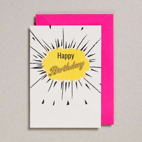 Embroidered Word Card - Happy Birthday - Yellow