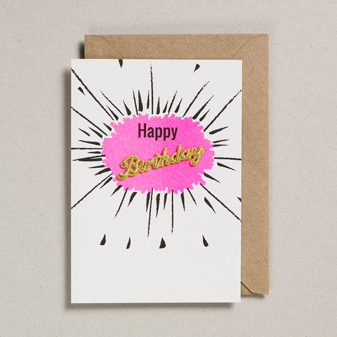 Embroidered Word Card - Happy Birthday - Pink