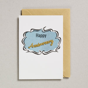 Embroidered Word Card - Happy Anniversary
