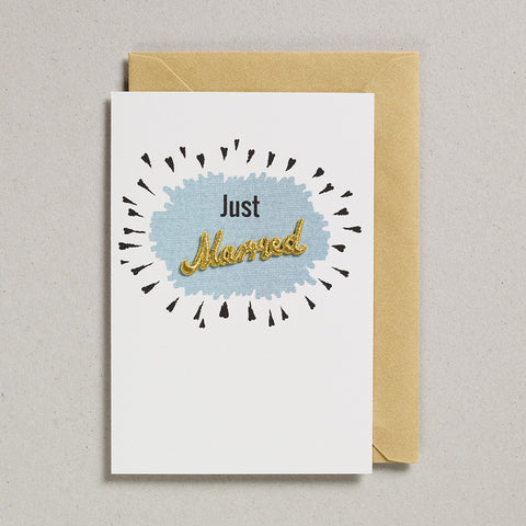 Embroidered Word Card - Just Married