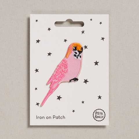 Iron on Patch - Pink Budgie