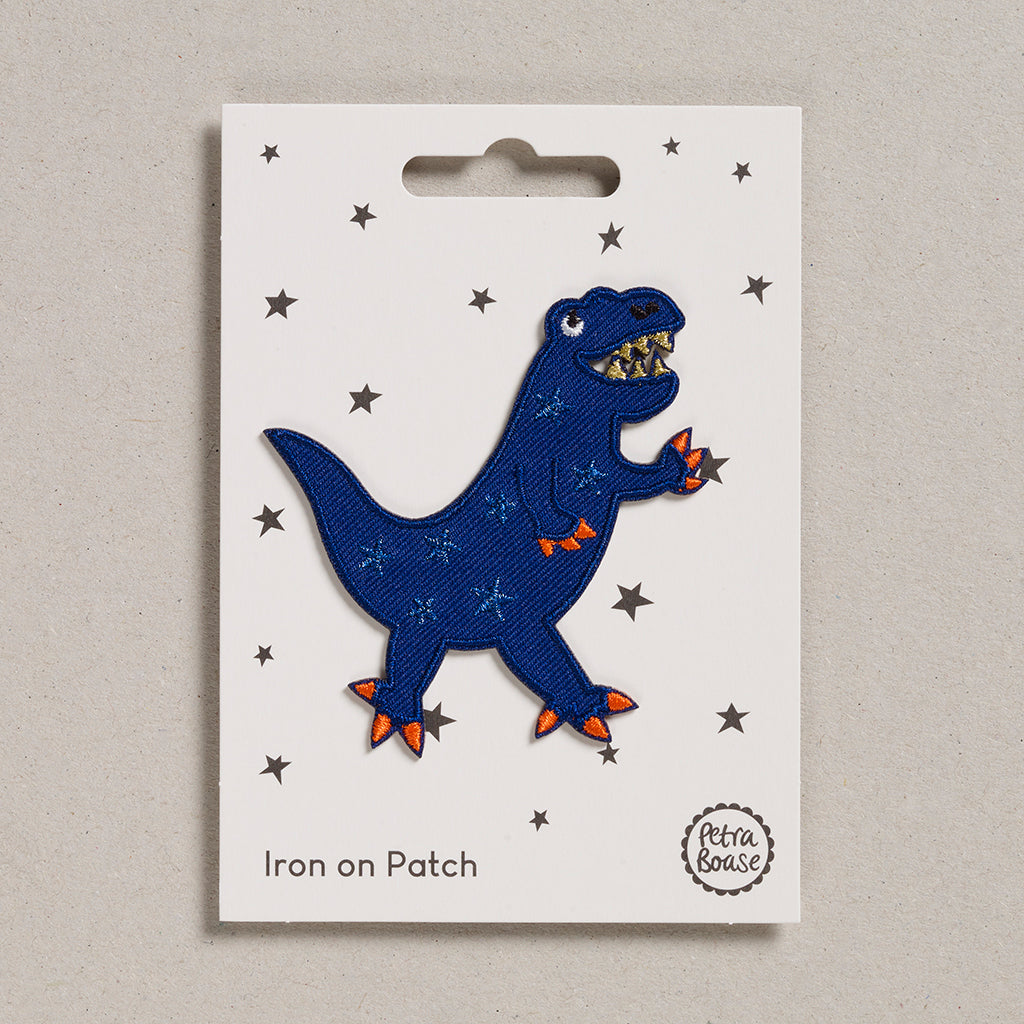 Iron on Patch - Blue Dinosaur
