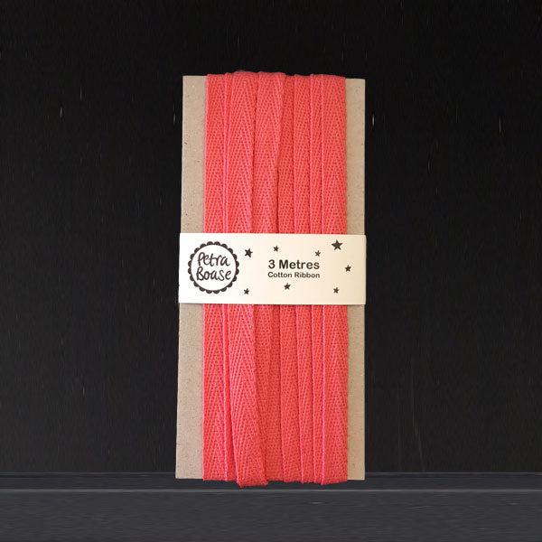 Cotton Herringbone Ribbon - Blush
