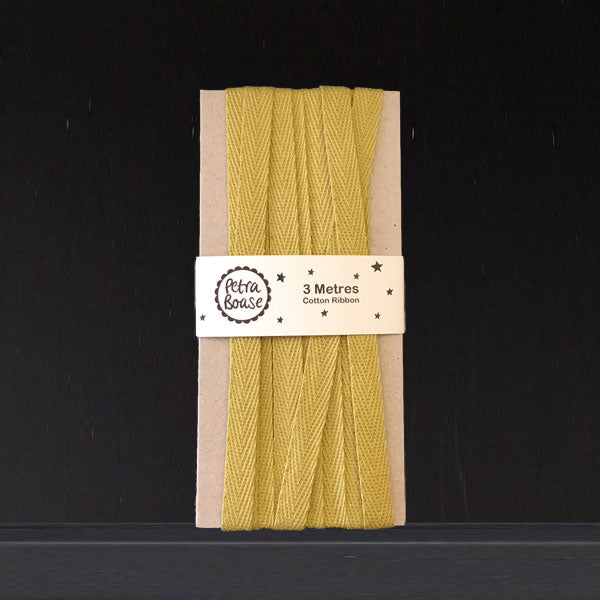 Cotton Herringbone Ribbon - Olive