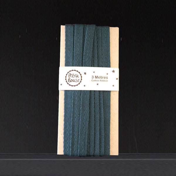 Cotton Herringbone Ribbon - Teal