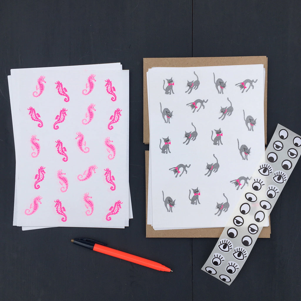 Writing Paper Set (Pack of 6) - Cats & Seahorses