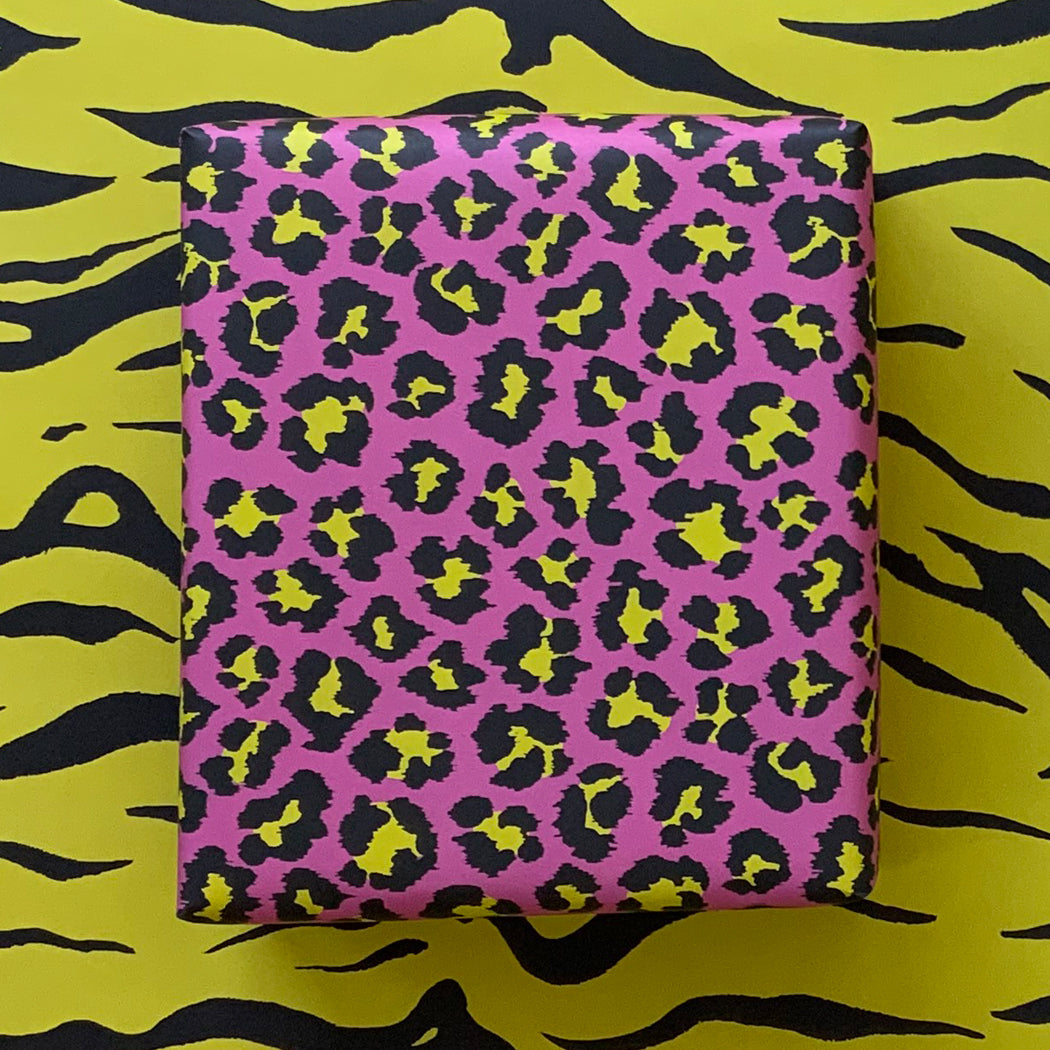 Wrapping Paper - Double-Sided - Bright Pink & Yellow