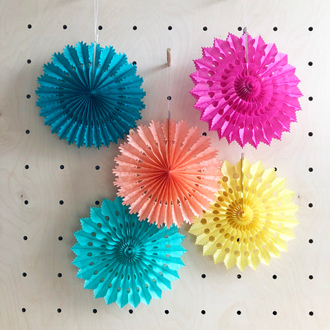 Set of 5 Colourful Fans