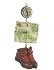 Hiking Boots & Map Ornament
