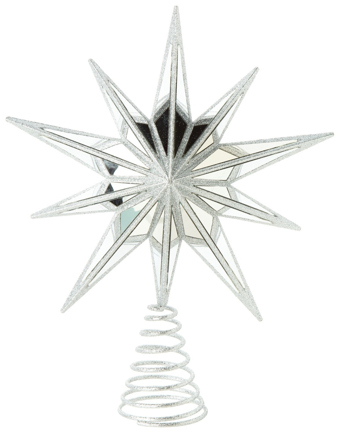 """""""Mirrored"""" Silver Star Tree Topper"""