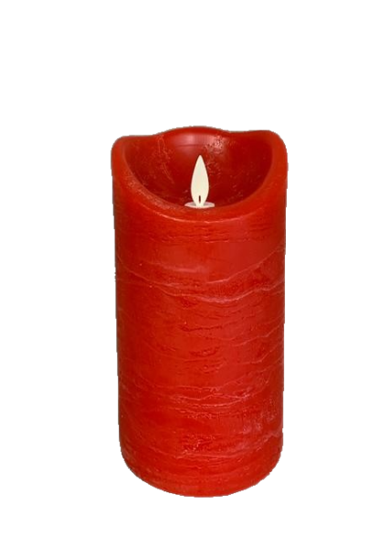 4x8 Flameless Pillar Candle In Rustic Red