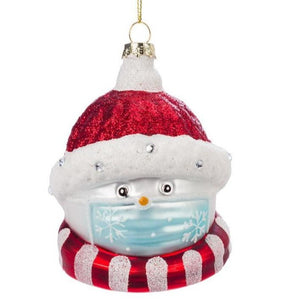 COVID Glass Snowman Face with Mask