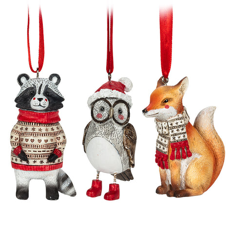 Assorted Woodland Animal Ornaments, INDIVIDUALLY SOLD