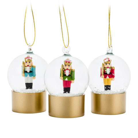 Assorted, Mini Nutcracker Snowglobe Ornaments, INDIVIDUALLY SOLD