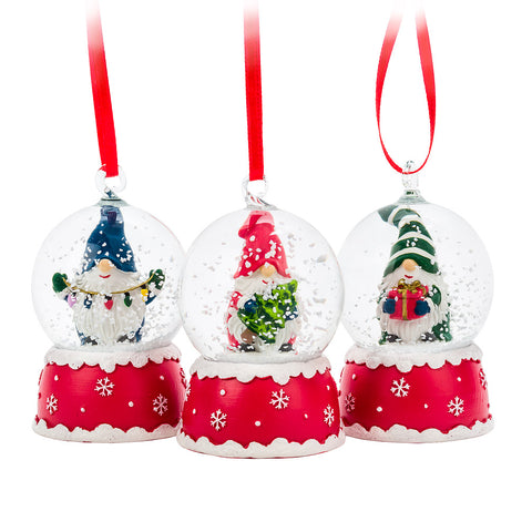 Assorted, Mini Gnome Snowglobe Ornaments, INDIVIDUALLY SOLD