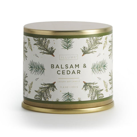 ILLUME  Candle Large Tin: Balsam and Cedar