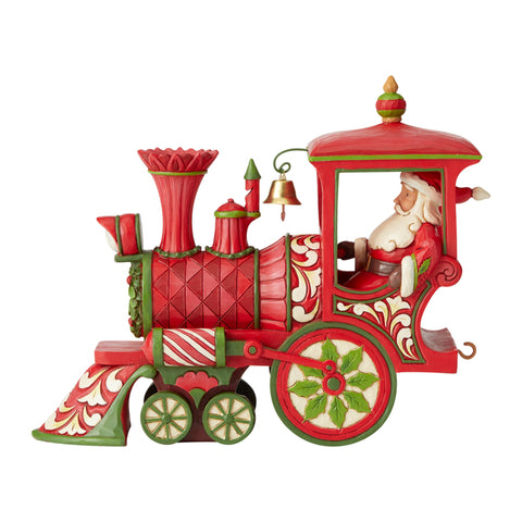 Santa in Train Figurine