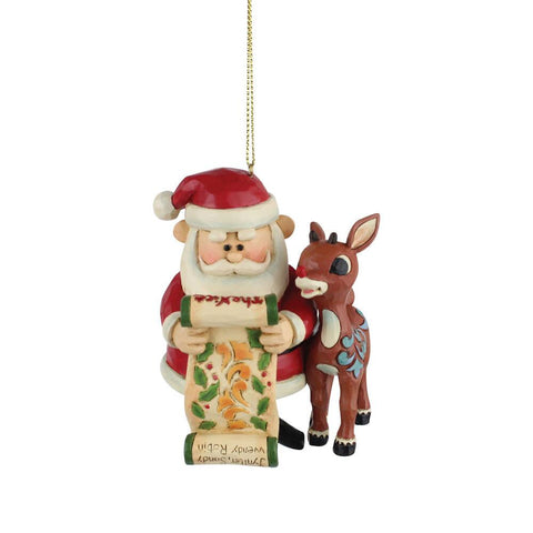 Santa & Rudolph With List Ornament