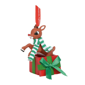 Rudolph Jumping out of Gift Ornament