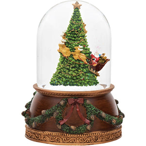 Christmas Tree With Santa's Sleigh Snowglobe