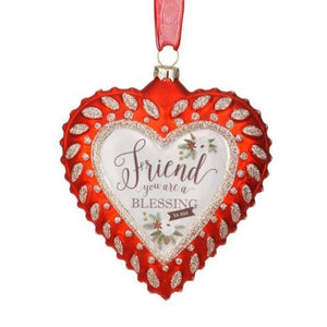 Friend Glass Heart Ornament