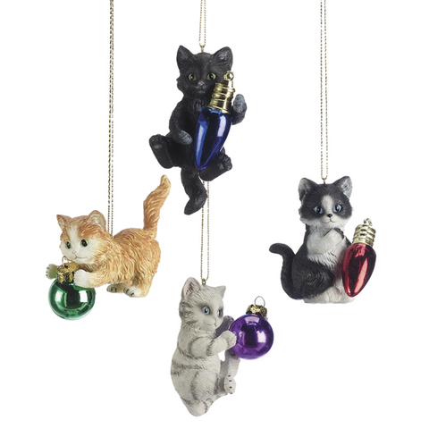 Assorted Playing Kitten Ornaments, INDIVIDUALLY SOLD