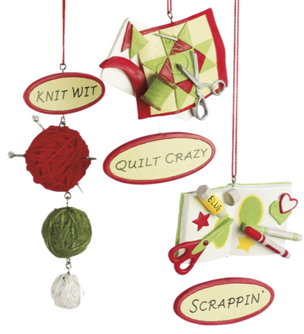 3 Assorted, Knitting, Quilting & Scrapbooking Ornaments, INDIVIDUALLY SOLD