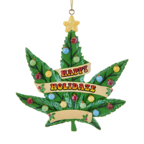Cannabis Leaf Happy Hollidaze Ornament
