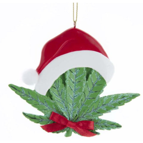Cannabis Leaf with Santa Hat Ornament
