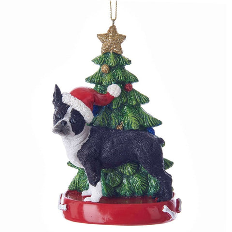 Dog & Tree Ornament Boston Terrier