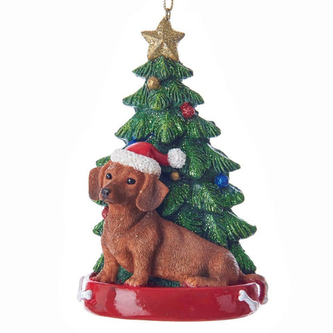 Dog & Tree Ornament Dachshund