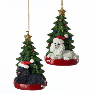 Dog & Tree Ornament Poodle, INDIVIDUALLY SOLD