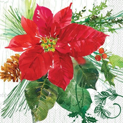 Poinsettia Cocktail Napkin